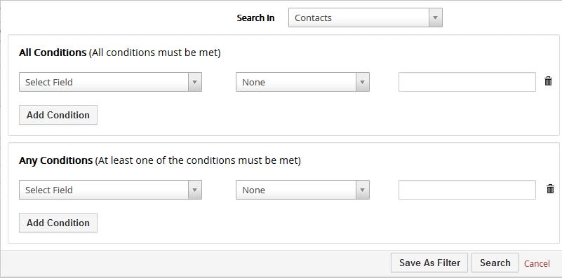 Advanced Search vtiger CRM