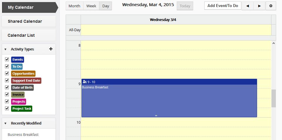 Vtiger Handleiding - Kalender en activiteiten
